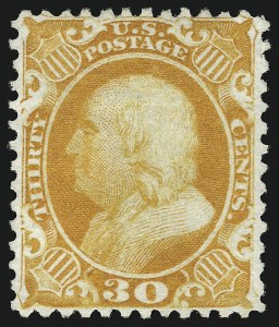 Sale Number 953, Lot Number 291, 1875 Reprint of 1857-60 Issue (Scott 40-47)30c Yellow Orange, Reprint (46), 30c Yellow Orange, Reprint (46)