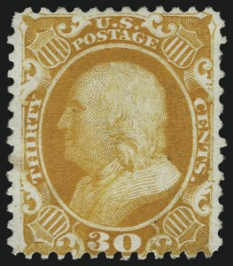 Sale Number 953, Lot Number 292, 1875 Reprint of 1857-60 Issue (Scott 40-47)30c Yellow Orange, Reprint (46), 30c Yellow Orange, Reprint (46)