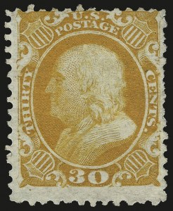 Sale Number 953, Lot Number 293, 1875 Reprint of 1857-60 Issue (Scott 40-47)30c Yellow Orange, Reprint (46), 30c Yellow Orange, Reprint (46)