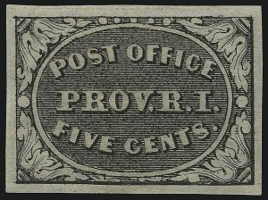 Sale Number 953, Lot Number 59, Postmasters` ProvisionalsProvidence R.I., 5c Gray Black (10X1), Providence R.I., 5c Gray Black (10X1)