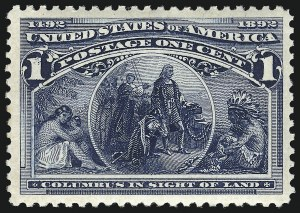 Sale Number 953, Lot Number 694, 1893 Columbian Issue (Scott 230-245)1c Columbian (230), 1c Columbian (230)