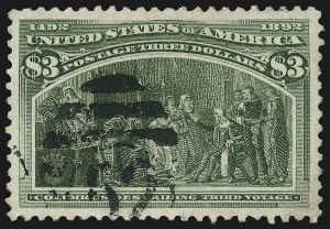Sale Number 953, Lot Number 756, 1893 Columbian Issue (Scott 230-245)$3.00 Columbian (243), $3.00 Columbian (243)