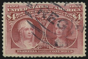 Sale Number 953, Lot Number 760, 1893 Columbian Issue (Scott 230-245)$4.00 Columbian (244), $4.00 Columbian (244)