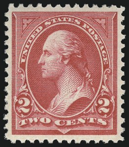 Sale Number 953, Lot Number 803, 1895 Watermarked Bureau Issue (Scott 264-278)2c Carmine, Ty. II (266), 2c Carmine, Ty. II (266)