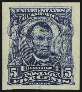 Sale Number 953, Lot Number 938, 1902-08 Issues (Scott 300-320)5c Blue, Imperforate (315), 5c Blue, Imperforate (315)