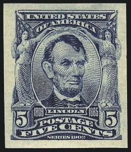 Sale Number 953, Lot Number 939, 1902-08 Issues (Scott 300-320)5c Blue, Imperforate (315), 5c Blue, Imperforate (315)