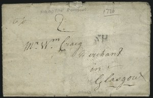 Sale Number 954, Lot Number 3014, Colonial & 18th Century(Hampton Roads Va., 1776) British Soldier Writing Home to Scotland, (Hampton Roads Va., 1776) British Soldier Writing Home to Scotland