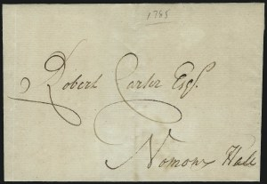 "Sale Number 954, Lot Number 3020, Colonial & 18th Century(Virginia, 1785) ""Robert Carter Esqr., Nominy Hall"", (Virginia, 1785) ""Robert Carter Esqr., Nominy Hall"""