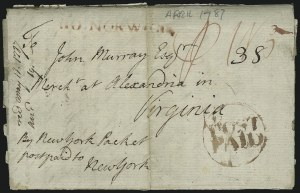 Sale Number 954, Lot Number 3021, Colonial & 18th Century(Alexandria Va., 1787) England to Virginia via New York Packet, (Alexandria Va., 1787) England to Virginia via New York Packet