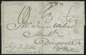 Sale Number 954, Lot Number 3022, Colonial & 18th Century(Petersburg Va., 1789) Private Ship Letter to Scotland, (Petersburg Va., 1789) Private Ship Letter to Scotland