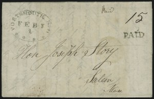 Sale Number 954, Lot Number 3034, Stampless MarkingsPortsmouth N.H. Feby. 1 (1815), Portsmouth N.H. Feby. 1 (1815)