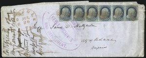 Sale Number 954, Lot Number 3049, 1851-57 Issue1c Blue, Ty. IIIa-II-IIIA-II-II-II (8A-7-8A-7-7-7), 1c Blue, Ty. IIIa-II-IIIA-II-II-II (8A-7-8A-7-7-7)