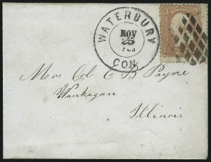 Sale Number 954, Lot Number 3060, 1861-69 Issues and Fancy CancellationsWaterbury Conn. Fancy Cancels, Waterbury Conn. Fancy Cancels