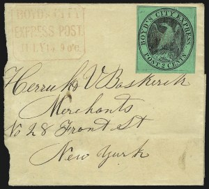 Sale Number 954, Lot Number 3135, Carriers, Locals and Independent MailsBoyd's City Express, New York N.Y., 2c Black on Green Glazed (20L1), Boyd's City Express, New York N.Y., 2c Black on Green Glazed (20L1)