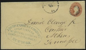 Sale Number 954, Lot Number 3163, Independent State & C.S.A. Use of U.S. StampsAdams Express Company, Great Eastern, Western & Southern Express Forwarders, New-York, Adams Express Company, Great Eastern, Western & Southern Express Forwarders, New-York