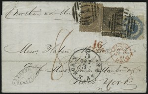 Sale Number 954, Lot Number 3165, Independent State & C.S.A. Use of U.S. StampsMelbourne (Victoria) to Petersburg Va. via London and New York, Melbourne (Victoria) to Petersburg Va. via London and New York