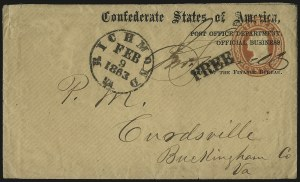Sale Number 954, Lot Number 3380, Official Imprints, Blockade-Run Mail, Trans-Mississippi ExpressPost Office Department, Official Business, Chief of the Finance Bureau, Post Office Department, Official Business, Chief of the Finance Bureau