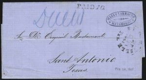 Sale Number 954, Lot Number 3384, Official Imprints, Blockade-Run Mail, Trans-Mississippi ExpressBrownsville Tex. Feb. 28, 1865, Brownsville Tex. Feb. 28, 1865