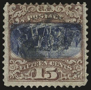 Sale Number 956, Lot Number 121, 1869 Pictorial Issue Inverts15c Brown & Blue, Ty. II, Center Inverted (119b), 15c Brown & Blue, Ty. II, Center Inverted (119b)