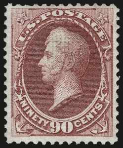 Sale Number 956, Lot Number 144, 1870 National Bank Note Co. Grilled Issue (Scott 134-144)90c Carmine, Grill (144), 90c Carmine, Grill (144)
