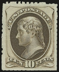 Sale Number 956, Lot Number 168, 1875 Continental Bank Note Co. Special Printing10c Pale Brown, Special Printing (172), 10c Pale Brown, Special Printing (172)