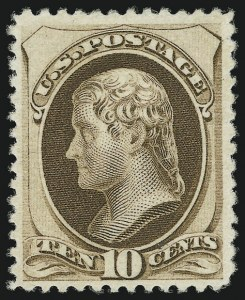 Sale Number 956, Lot Number 182, 1879 American Bank Note Co. Issue (Scott 182-191)10c Brown, Without Secret Mark (187), 10c Brown, Without Secret Mark (187)