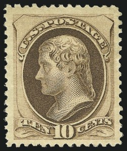 Sale Number 956, Lot Number 183, 1879 American Bank Note Co. Issue (Scott 182-191)10c Brown, With Secret Mark (188), 10c Brown, With Secret Mark (188)