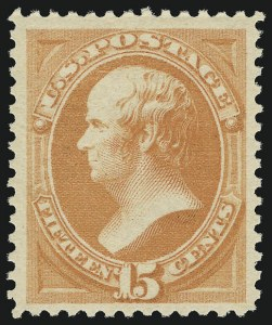 Sale Number 956, Lot Number 184, 1879 American Bank Note Co. Issue (Scott 182-191)15c Red Orange (189). Mint N.H, 15c Red Orange (189). Mint N.H