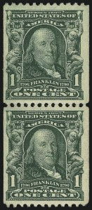 Sale Number 956, Lot Number 300, 1902-08 Issue1c Blue Green, Coil (316), 1c Blue Green, Coil (316)