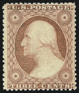 Sale Number 956, Lot Number 33, 1857-60 Issue3c Dull Red, Ty. III (26). Mint N.H, 3c Dull Red, Ty. III (26). Mint N.H