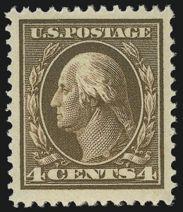 Sale Number 956, Lot Number 355, 1908-12 Issues (Scott 369-396)4c Brown (377), 4c Brown (377)