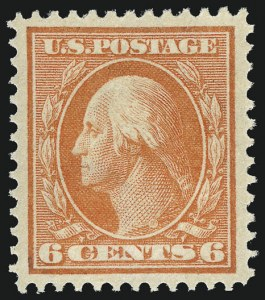 Sale Number 956, Lot Number 357, 1908-12 Issues (Scott 369-396)6c Red Orange (379), 6c Red Orange (379)