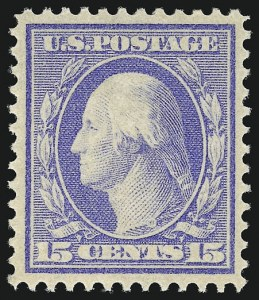 Sale Number 956, Lot Number 360, 1908-12 Issues (Scott 369-396)15c Pale Ultramarine (382), 15c Pale Ultramarine (382)