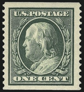 Sale Number 956, Lot Number 366, 1908-12 Issues (Scott 369-396)1c Green, Coil (387), 1c Green, Coil (387)