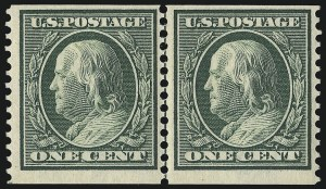 Sale Number 956, Lot Number 367, 1908-12 Issues (Scott 369-396)1c Green, Coil (387), 1c Green, Coil (387)
