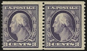 Sale Number 956, Lot Number 371, 1908-12 Issues (Scott 369-396)3c Deep Violet, Orangeburg Coil (389), 3c Deep Violet, Orangeburg Coil (389)