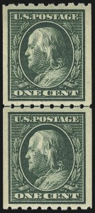 Sale Number 956, Lot Number 374, 1908-12 Issues (Scott 369-396)1c Green, Coil (390), 1c Green, Coil (390)