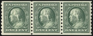Sale Number 956, Lot Number 378, 1908-12 Issues (Scott 369-396)1c Green, Coil (392), 1c Green, Coil (392)