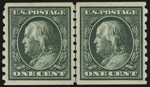 Sale Number 956, Lot Number 379, 1908-12 Issues (Scott 369-396)1c Green, Coil (392), 1c Green, Coil (392)