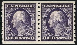 Sale Number 956, Lot Number 384, 1908-12 Issues (Scott 369-396)3c Deep Violet, Coil (394), 3c Deep Violet, Coil (394)