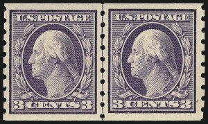 Sale Number 956, Lot Number 385, 1908-12 Issues (Scott 369-396)3c Deep Violet, Coil (394), 3c Deep Violet, Coil (394)
