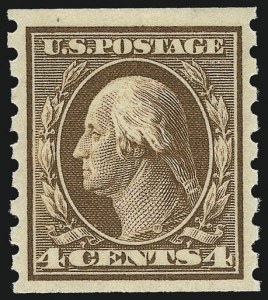 Sale Number 956, Lot Number 386, 1908-12 Issues (Scott 369-396)4c Brown, Coil (395), 4c Brown, Coil (395)