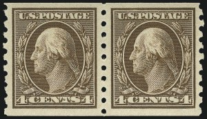 Sale Number 956, Lot Number 387, 1908-12 Issues (Scott 369-396)4c Brown, Coil (395), 4c Brown, Coil (395)