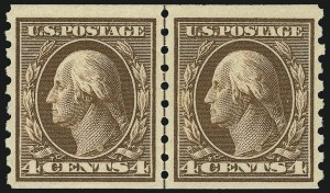 Sale Number 956, Lot Number 388, 1908-12 Issues (Scott 369-396)4c Brown, Coil (395), 4c Brown, Coil (395)