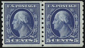 Sale Number 956, Lot Number 390, 1908-12 Issues (Scott 369-396)5c Blue, Coil (396), 5c Blue, Coil (396)