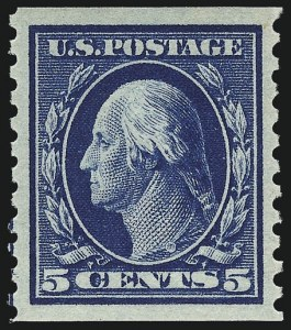 Sale Number 956, Lot Number 441, 1912-16 Issues (Scott 443-460)5c Blue, Coil (447), 5c Blue, Coil (447)