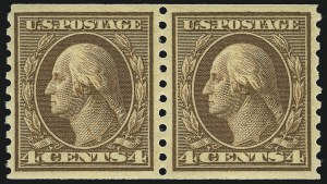Sale Number 956, Lot Number 460, 1912-16 Issues (Scott 443-460)4c Brown, Coil (457), 4c Brown, Coil (457)