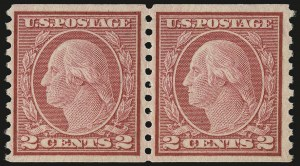 Sale Number 956, Lot Number 493, 1917-23 Issues (Scott 486-497)2c Carmine, Ty. II, Coil (491), 2c Carmine, Ty. II, Coil (491)