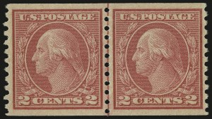 Sale Number 956, Lot Number 494, 1917-23 Issues (Scott 486-497)2c Carmine, Ty. II, Coil (491), 2c Carmine, Ty. II, Coil (491)