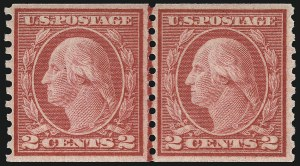 Sale Number 956, Lot Number 495, 1917-23 Issues (Scott 486-497)2c Carmine, Ty. III, Coil (492), 2c Carmine, Ty. III, Coil (492)